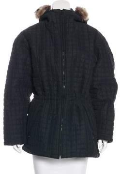 Andrew Marc Short Raccoon-Trimmed Coat