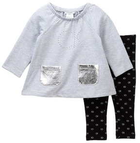 Calvin Klein Fleece Tunic with Pleather Pockets & Printed Legging Set (Baby Girls)