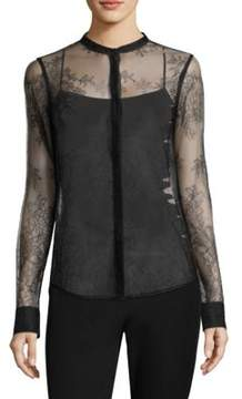 Donna Karan Long Sleeve Lace Top