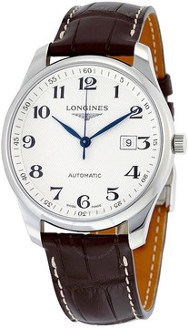 Longines Master Collection Silver Dial Brown Alligator Leather Automatic Men's Watch