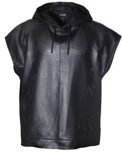 Les Hommes Men's Black Leather Sweatshirt.