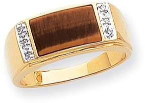 Ice 14k Tigers Eye & A Quality Diamond Mens Ring