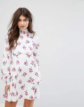 Fashion Union High Neck Dress In Floral