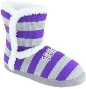 NCAA Women's TCU Horned Frogs Striped Boot Slippers