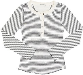 Scotch R'Belle Striped Ribbed Stretch-Cotton Henley