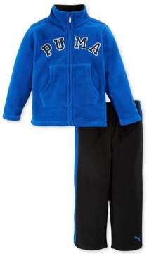 Puma Toddler & Little Boys 2 Piece Blue & Black Fleece Jacket & Pants Set 4