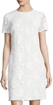 Donna Ricco Floral-Embellished Mesh Shift Dress