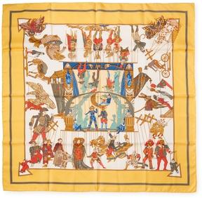 Hermes Women's Vintage Orange Les Temps des Marionettes Silk Scarf, 35 x 35