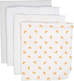 Luvable Friends Fox Four-Piece Flannel Receiving Blankets Set