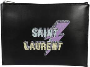 Saint Laurent Lightning Bolt-print Clutch