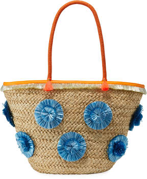 Milly Straw Pompom Shoulder Tote Bag