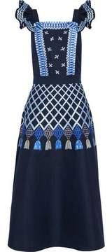 Temperley London Poppy Field Embroidered Cotton-Poplin Midi Dress