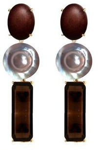 Bounkit Pearl And Wood Drop Earrings