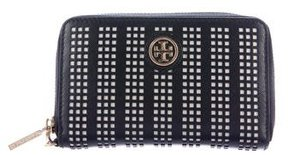 Tory Burch Perforated Leather Wallet - BLACK - STYLE