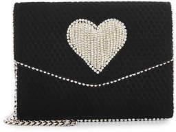 Les Petits Joueurs Lulu Disco Heart Embellished Velvet Shoulder Bag