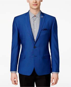 Nick Graham Men's Slim-Fit Stretch Blue Dot Sport Coat