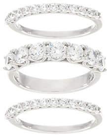 Diamonique Set of Three Band Rings, Platinum Clad