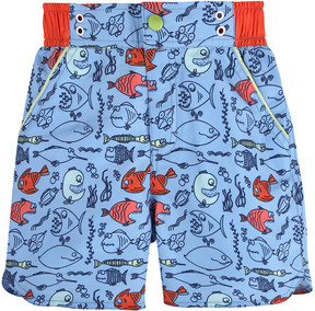 Andy & Evan Boys' Light Blue Fish Swimsuit