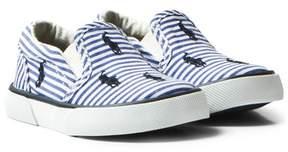 Ralph Lauren Blue Stripe Poplin Bal Harbour Slip Ons