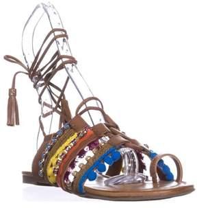 INC International Concepts I35 Mariani Lace-up Flat Sandals, Golden Cognac.