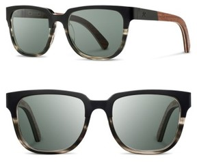 Shwood Men's 'Prescott' 52Mm Titanium & Wood Sunglasses - Black/ Grey/ Walnut/ Grey