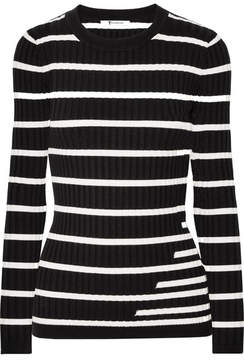 Alexander Wang Striped Ribbed Stretch-knit Sweater - Black