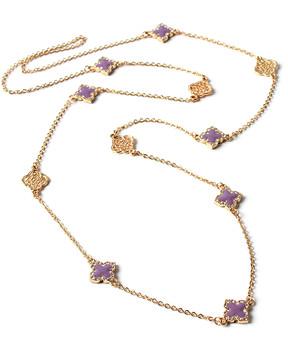 Amrita Singh Lavender & Goldtone Noho Filigree Clover Station Necklace