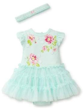 Little Me Baby Girl's Two-Piece Floral Bodysuit and Headband Set