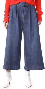 ADAM by Adam Lippes Cropped Pleat Denim Pants