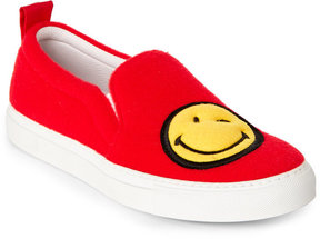 Joshua Sanders Red Smiley Felt Slip on Sneakers