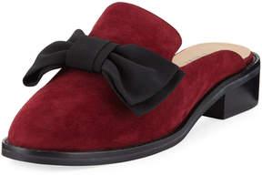 Neiman Marcus Aimy Suede Bow Slide Mule, Amaranto/Black