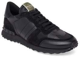 Valentino Noir Camo Rockstud Sneakers