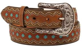 Ariat Western Belt Womens Zig Zag Diamond S Brown Turquoise A1518202