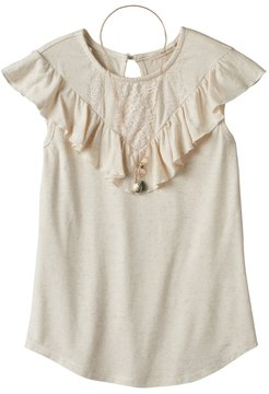 Self Esteem Girls 7-16 Crochet Lace Flounce Overlay Top with Necklace
