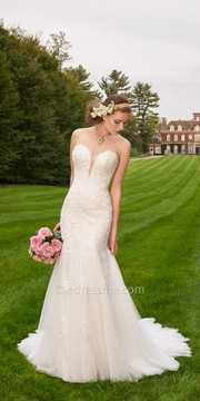 Camille La Vie Tulle Lace Plunge Wedding Dress
