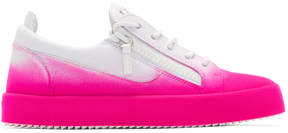 Giuseppe Zanotti White and Pink Flashy May London Sneakers