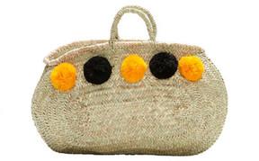 VALENCIA, Oblong Shopper Basket, Black/Orange Pompoms