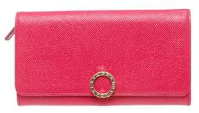 Bvlgari Hot Pink Leather Long Continental Wallet.