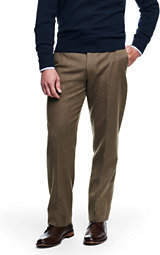 Lands' End Men's Traditional Fit Wool Flannel Trousers-Wheat