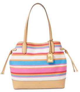 Lauren Ralph Lauren Striped Canvas Adalyn Tote Bag