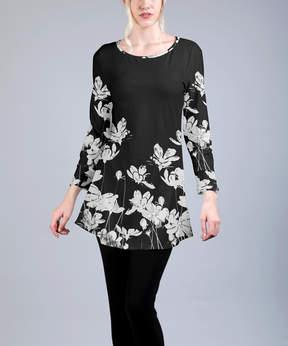 Azalea Gray & Black Floral Tunic - Women & Plus