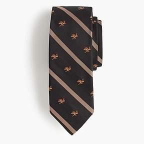 J.Crew Silk tie in stripe with embroidered jackrabbits