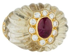 Boucheron 18K Diamond, Ruby, & Quartz Cocktail Ring