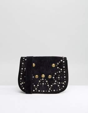 Park Lane Suede Studded Saddle Bag