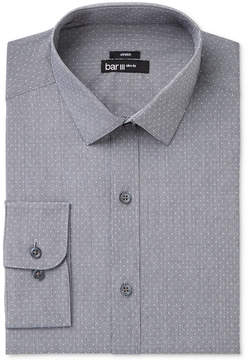 Bar III Men's Slim-Fit Easy Care Stretch Black & White Houndstooth Dobby Dress Shirt, Created for Macy's