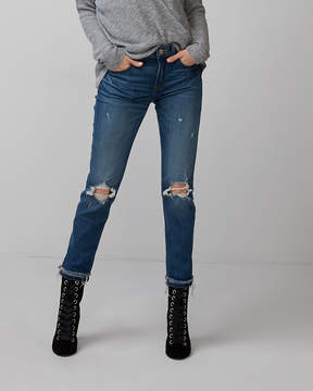 Express Mid Rise Super Skinny Destroyed Stretch Jeans