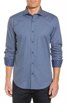 Bugatchi Men's Shaped Fit Jacquard Sport Shirt
