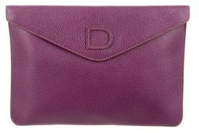 Delvaux Grained Leather Envelope Clutch