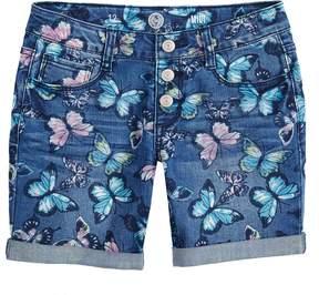 Mudd Girls 7-16 SO Rolled Cuff Fashion Midi Denim Shorts