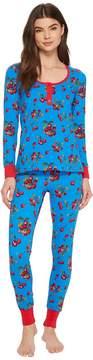 BedHead Long Sleeve Henley Two-Piece Pajama Set Women's Pajama Sets